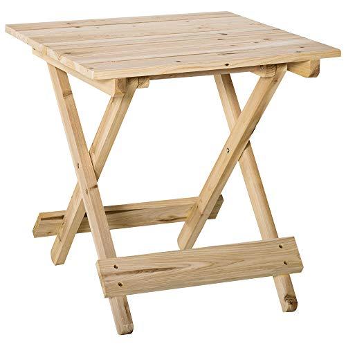 Outsunny Tavolo da Picnic in Legno, Tavolino da Giardino o da Esterno Pieghevole e Portatile, 50x50x51cm