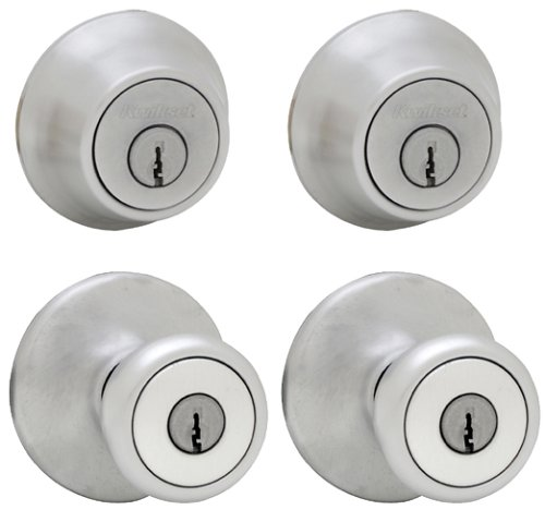 242 Tylo Keyed Entry Knob and Single Cylinder Deadbolt Project Pack in Satin Chrome