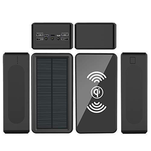 AP.DISHU Solar Powerbank, 40000mAh Wireless Tragbares Ladegerät Externer Akku Fast Ladegerät für iPhone Samsung iPad und Wasserdicht Camping/Wandern im Freien,Schwarz,60000mAh