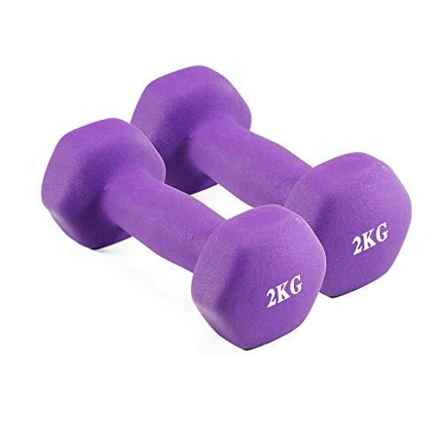 LF Stores - Mscchine Firness Attrezzatura per Il Fitness con manubri per Principianti per Bambini Dimagrante Piccoli Dumbbells (Due) (Color : Purple, Dimensione : 2.0kg)
