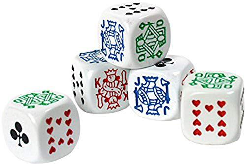HARMILIY Sei Facce Poker Dadi Poker Dice per Casinò Poker Card Festa Gioco Accessori, 16mm Confezione da 5Pezzi