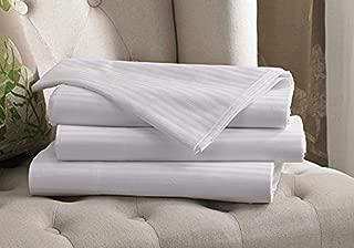 Westin White Stripe Flat Sheet - Luxurious 300 Thread Count Cotton Top Sheet with Signature Shadow Stripe - White - Queen (92