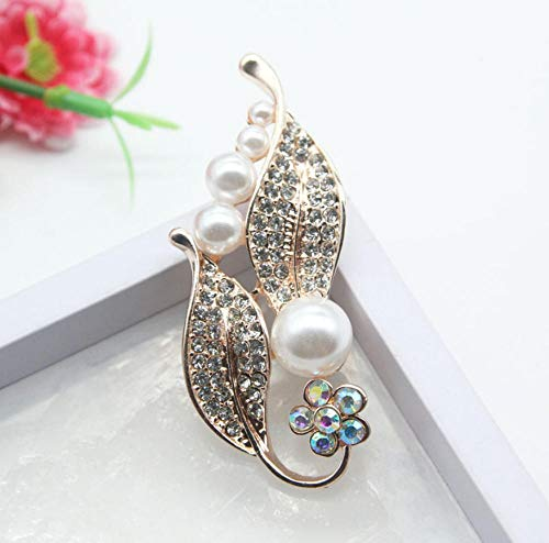 NA Hojas de Diamantes de imitación con imitación Blanca Pasadores de Perlas...