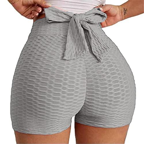 beootcr Bow Tie Textured Butt Lifting Sports Shorts, Tiktok Butt Lifting Yoga Shorts for Women, Tiktok Butt Leggings Shorts High Waist for Workout Sports Gym Running (L,Gray)