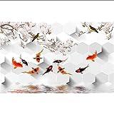 Knncch Personalizzato Foto 3D Wallpaper Fiore Magnolia Nove Foto Di Pesce Tv Sfondo Non Tessuto Parete Per 3D Muro-150X120Cm