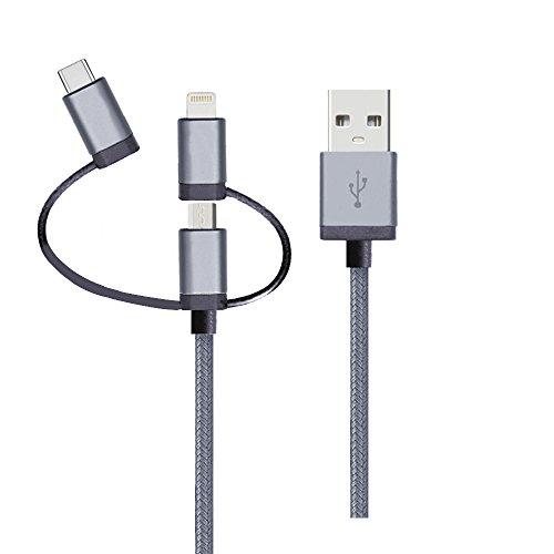 Cabo 3 em 1 - Conector lightning original Mfi Apple para iPhone, iPad, iPod lightning , Conector micro USB, Conector USB-C (tipo-C), nylon trançado, 1,5MT, Cinza, LMC31GR, Geonav