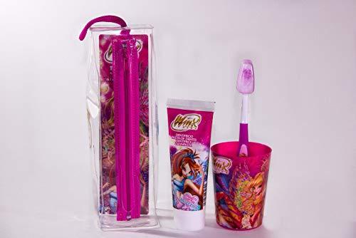 MR WHITE - Travel Kit/Pochette WINX: Set Igiene orale composto da spazzolino da denti manuale con ventosa, dentifricio 75ml, bicchiere e comoda pochette da viaggio