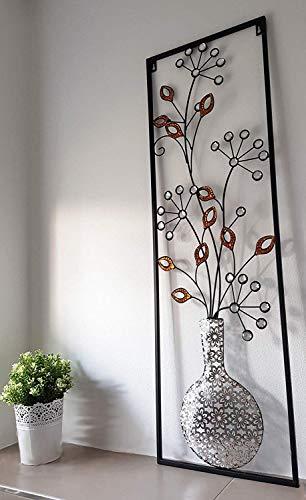 Metallbild Florale Wandbilder Wanddekoration aus Metall 102cm x 33cm Vintage Dekoration für Schlafzimmer Küche Wohnzimmer Garten