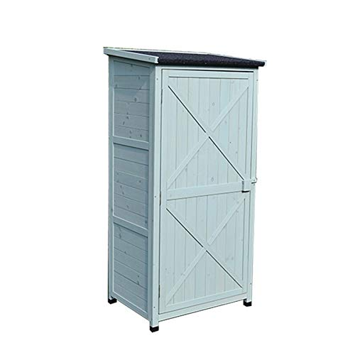 DHTOMC Outdoor Storage Box Outdoor Wooden Tool Cabinet Storage Shed 3-Tier Removeable Shelf For Balcony Garden Patio With Board Garden Box (Color : Green, Size : Full-layer board.)