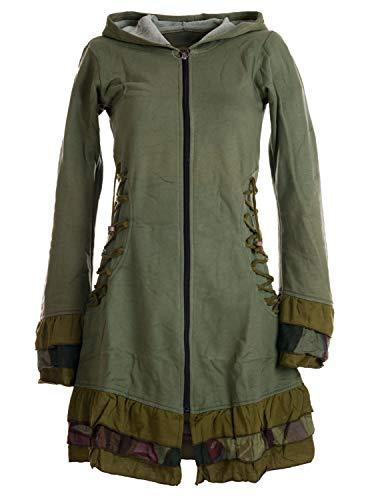 Vishes - Alternative Bekleidung - Elfenmantel aus Baumwolle mit Zipfelkapuze und Rüschen zum Schnüren Olive 40
