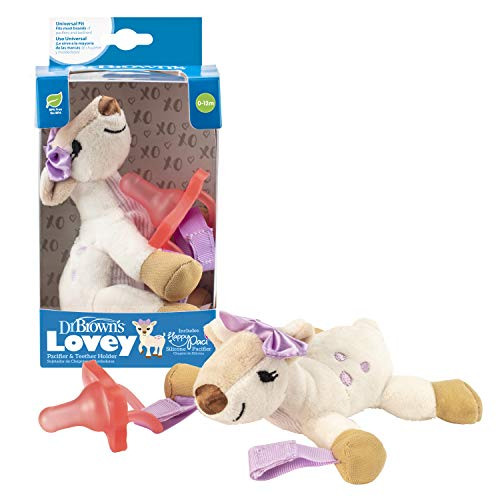Dr. Brown's Baby Lovey Pacifier and Teether Holder, Soft Plush Stuffed Animal Deer Pacifier Tether with Pink Pacifier, 100% Silicone Pacifier, 0+ Months, Infant - Baby - Toddler
