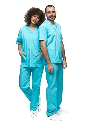 Mazalat , Unisex medizinische uniform Set mit Kasack und Hose, Medical Schrubb-Set, Pflege Berufsbekleidung (Hellblau, XL)