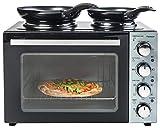 Bestron, Cuisinière Grill - Four avec Plaque de Cuisson Double, Chaleur Supérieure/Inférieure, Circulation d'Air Chaud, Jusqu'à 230°, 3200 Watt, Noir