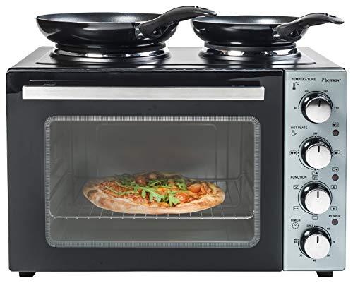 Bestron Kleinküche, Mini-Backofen mit Doppelkochplatte, Ober-/Unterhitze mit Umluftfunktion bis 230°C, 3200 Watt, Schwarz