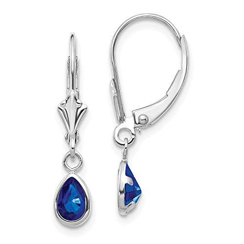 14k White Gold 6x4mm Sapphir/september Leverback Earrings Lever Back Drop Dangle Birthstone September Fine Jewelry For Women Gifts For Her