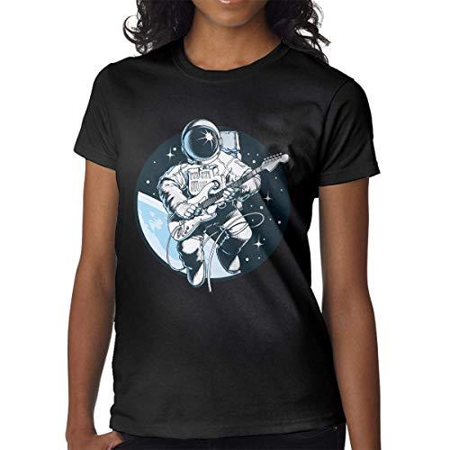 Mujeres Imprimir Camisetas Superiores Astronauta Tocando Guitarra eléctrica en el Espacio Manga...