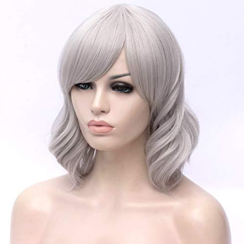 ATAYOU® Damen Kurze Gewellte Lockige Synthetische Silber Grau Bob Perücken Cosplay Halloween Perücke (Silber Grau)