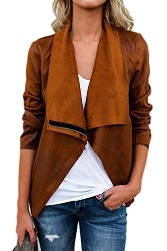 Donna Outerwear Moda Vintage Camoscio Cappotto Corto Manica Lunga Bavero Eleganti Casual Chic con Cerniera Primaverile Giacca Autunno Cardigan Ragazza (Color : Brown, Size : S)