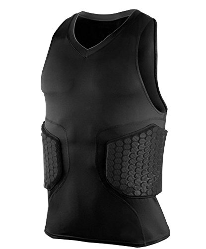 Zicac Men's Sports Shock Rash Guard Compression Padded Protective Shirt Soccer Basketball Training Vest (Black, M(Asia Tag L))