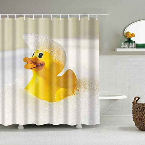 Digitaldruck Qualität Textil Duschvorhang Gelbe Ente Duschvorhang Anti-Schimmel Textil Waschbar Anti-Bakteriel mit 12 Ringe für Badezimmer (180 * 180cm)