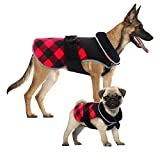 KuoserDog Winter Coat British Style Plaid Fleece Warm Christmas Clothes, Reflective Reversible Cold Weather Dog Jacket Windproof Cozy Dog Vest for Small Medium Large Dogs XS