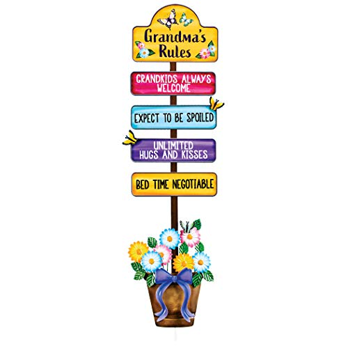 Collections Etc Grandmas House Rules for Grandkids Garden Stake - Features Bottom Flowers, Bright Butterflies - Easy Assembly - Metal