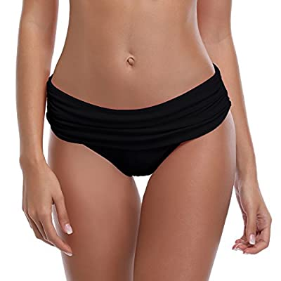 SHEKINI Women's Swimsuit Hipster Bikini Bottoms Full Coverage Ruched High Waisted Swim Bottoms (X-Large, Manhattan Black)