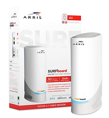 ARRIS Surfboard S33 DOCSIS 3.1 Multi-Gigabit Cable Modem with 2.5 Gbps Ethernet Port, Approved for Cox, Xfinity, Spectrum & Others.