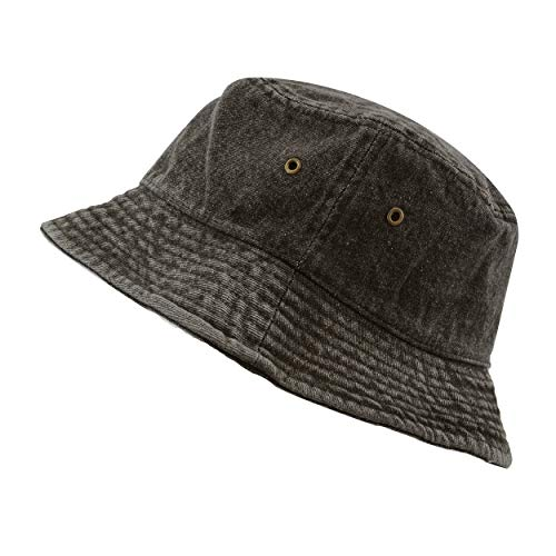 The Hat Depot Washed Cotton Denim Bucket Hat (L/XL, Black)