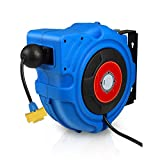 Commercial Extension Cord Reel Heavy Duty Retractable 14AWG x 50' Feet Industrial Grade Cable with Triple Tap Connector and 180° Swivel Bracket Power Rating 15A 1800W / 120VAC
