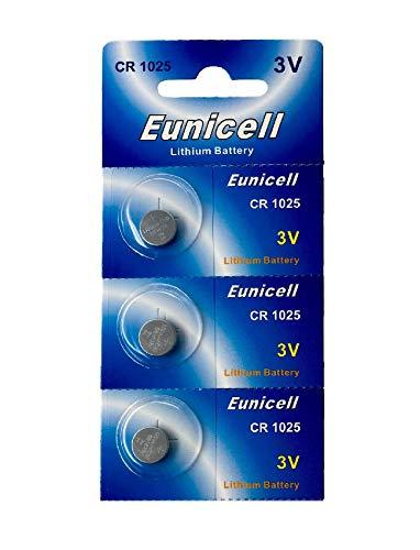 Eunicell 3 x CR1025 3V Lithium Knopfzelle (1 Blistercard a 3 Batterien) EINWEG Markenware