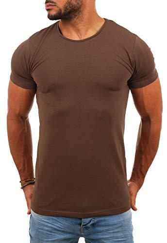 Young & Rich Herren Uni Basic T-Shirt mit Rundhals Ausschnitt einfarbig Round Neck Tee Stretch körperbetonte Dehnbare Passform, Grösse:XL, Farbe:Braun
