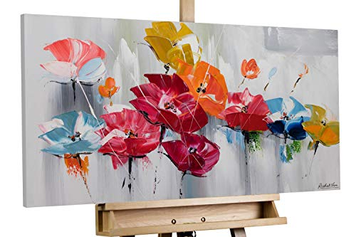 KunstLoft® Acryl Gemälde 'Finally Spring' 100x50cm   original handgemalte Leinwand Bilder XXL   Blumen Abstrakt Bunt Grau   Wandbild Acrylbild Moderne Kunst einteilig mit Rahmen