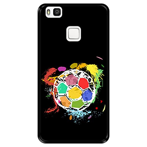 Funda Negra para [ Huawei P9 Lite ] diseño [ Balón de fútbol Abstracto, Multicolor ] Carcasa Silicona Flexible TPU