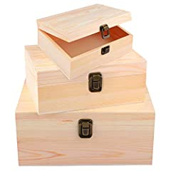 You will receive: there are 3 packs of unfinished wood treasure chests with locking clasps in total, adopt minimalist design, sufficient quantity can meet your daily use and replacement needs; with a clasp design, convenient for your storage, more pr...