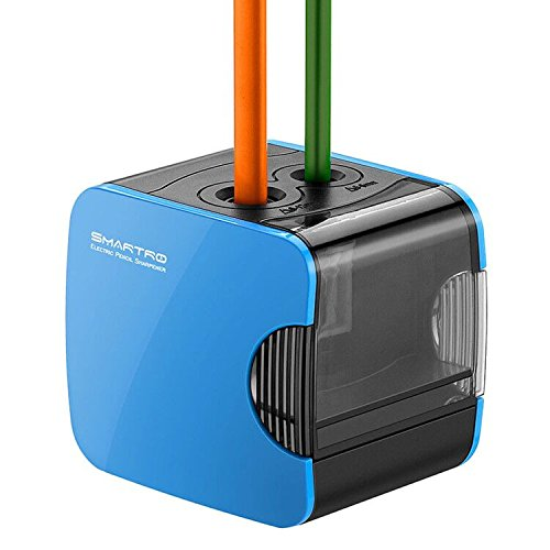 SMARTRO Electric Pencil Sharpener, Best USB or Battery Operated Heavy Duty for No.2 and Colored Pencil (Blue)