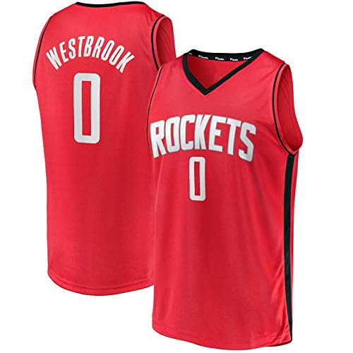 HZHEN NBA Jersey Houston Rockets # 0 Russell Westbrook Classic Men's Basketball Jerseys sin Mangas Camiseta Transpirable,2,L (175~180CM / 75~85KG)