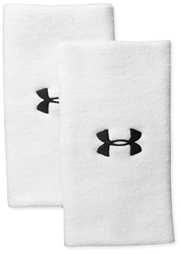Under Armour Adult 6-inch Performance Wristband 2-Pack , White (100)/Black , One Size Fits All