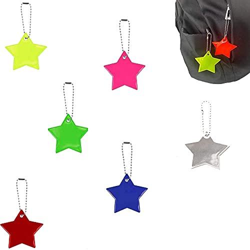 12 Piezas llaveros Reflector, Colgante Reflector Infantil, Llavero Reflectante Estrella con Cadenas, para Ropa, Mochilas, Bolsos, Cochecitos, Sillas de Ruedas