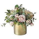ADSE Flores Artificiales con jarrón Dorado Set Plantas Falsas Seda para Plantas en macetas de Interior Decoración de la Sala de Estar de la Oficina en casa