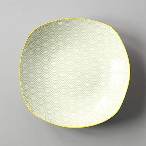 ZJN-JN Las placas Estilo Europeo cuadrado simple del estilo del hogar japonés y viento Placa esmalte de cerámica bajo el plato Snack-placa plato cuadrado verde de la onda profunda de la placa 19.6X4.5