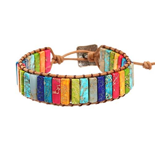 Plumiss 7 Chakra Leather Handmade Imperial Jasper Wrap Bead Adjustable Bracelet Collection