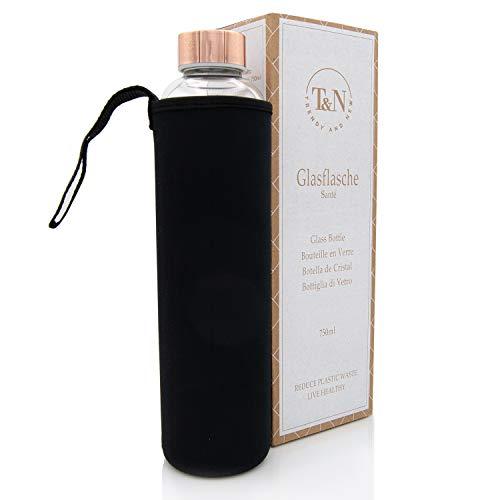 T&N Glasflasche 750 ml – Trinkflasche Glas mit Neoprenhülle – Wasserflasche Auslaufsicher – Glastrinkflasche aus dickerem Borosilikat-Glas 100% BPA frei - Schlankes Design