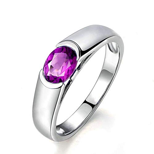 Bishilin Sterling Silver Wedding Band for Women Comfort Fit Round Shape Gem Set Purple Oval Cristal Gemstone Birthstone Band Rings Engagement Wedding Women Jewelry Silver Size: M 1/2