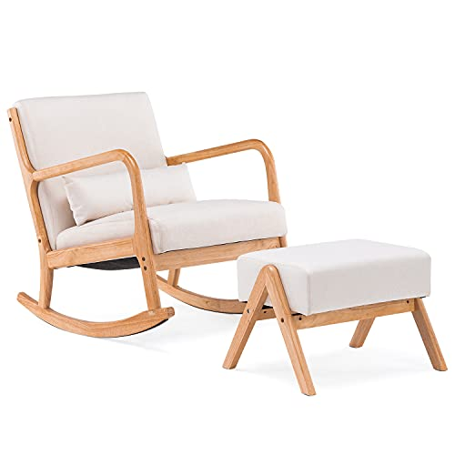YOLENY Fabric Rocking Chair,Mid-Century Glider Rocker with Padded Seat, with Ottoman,Seat Wood Base,Linen Accent Chair for Living Room,New Beige