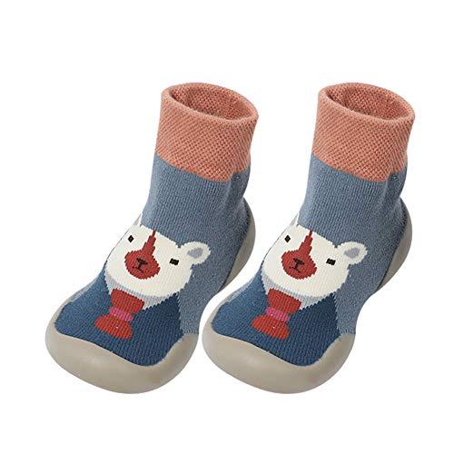 Fnsky Baby Hausschuhe Socken, Kleinkind Anti-Rutsch Warme Hausschuhe Socken Bodensocken, Süße Wintersocken Schuhe für Baby Junge Mädchen