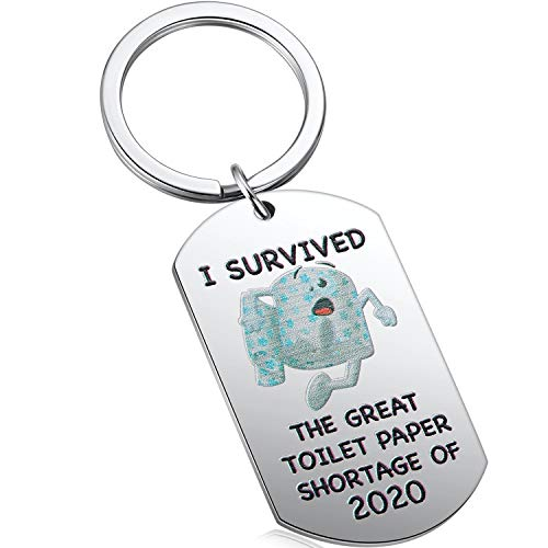 I Survived The Great Toilet Paper Shortage of 2020 Funny Virus Pop Culture Graphic Keychain Gag Quarantine Gift for Men