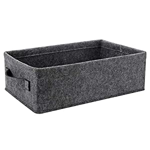 Collapsible Storage Baskets Soft Felt Fabric Baskets Storage Bins Organizer for DVD CD Books Underwear Socks Bra Storage Basket Decorative Cute Storage Basket