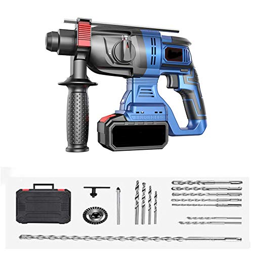 Strong Hammer Drill, Brushless Impact Lithium Battery High Power Rechargeable Multifunctional Light Industrial Grade Electric Hammer,A,1 Battery LMMS (Color : A, Size : 2 battery)