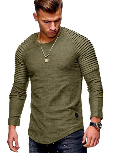 ABUCIYO Sleeve Pleated Patch Detail Long Sleeve T-Shirt Men Spring Casual Tops Pullovers Fashion Slim Basic Tops (Green,M)